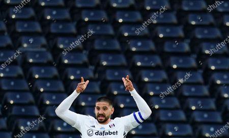Aleksander Mitrovic of Fulham celebrates scoring the opening goal