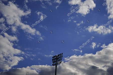 A view of a floodlight ahead of kick off