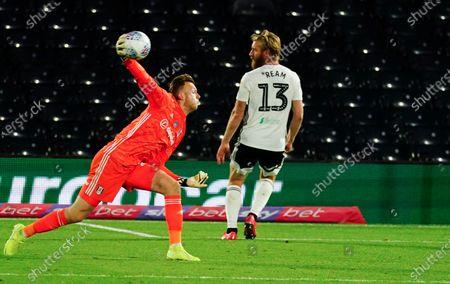 Goalkeeper Marek Rodak of Fulham throws the ball