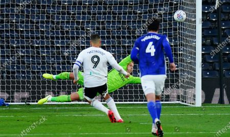 Aleksander Mitrovic of Fulham scores a goal from the penalty spot 1-0