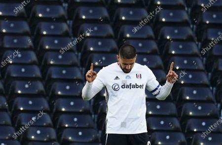Aleksander Mitrovic of Fulham celebrates scoring a goal 1-0