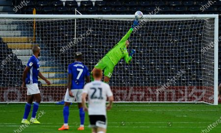 Goalkeeper Alex Smithies of Cardiff City brilliantly tips a goal bound effort from Bobby De Cordova Reid of Fulham onto the crossbar