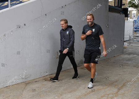 The Kiyan Prince Foundation Stadium, London, England; Sheffield Wednesday Manager Garry Monk walking with the Sheffield Wednesday Goalkeeper Coach Nicky Weaver towards the pitch from the away tunnel before kick off; English Championship Football, Queen Park Rangers versus Sheffield Wednesday.