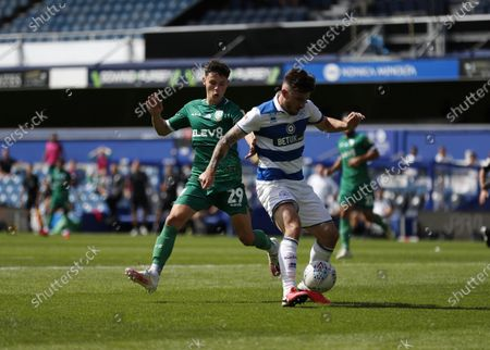 The Kiyan Prince Foundation Stadium, London, England; Alex Hunt of Sheffield Wednesday challenges Ryan Manning of Queens Park Rangers; English Championship Football, Queen Park Rangers versus Sheffield Wednesday.