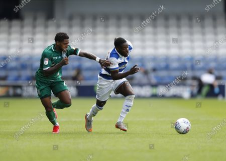 The Kiyan Prince Foundation Stadium, London, England; Kadeem Harris of Sheffield Wednesday challenges Olamide Shodipo of Queens Park Rangers; English Championship Football, Queen Park Rangers versus Sheffield Wednesday.