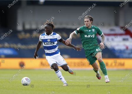 The Kiyan Prince Foundation Stadium, London, England; Josh Windass of Sheffield Wednesday marking Osman Kakay of Queens Park Rangers; English Championship Football, Queen Park Rangers versus Sheffield Wednesday.