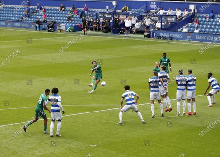 The Kiyan Prince Foundation Stadium, London, England; Josh Windass of Sheffield Wednesday taking a free kick; English Championship Football, Queen Park Rangers versus Sheffield Wednesday.