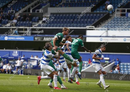 The Kiyan Prince Foundation Stadium, London, England; Tom Lees of Sheffield Wednesday heads the ball towards the net from a corner; English Championship Football, Queen Park Rangers versus Sheffield Wednesday.
