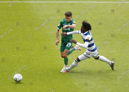 The Kiyan Prince Foundation Stadium, London, England; Alex Hunt of Sheffield Wednesday challenges Eberechi Eze of Queens Park Rangers; English Championship Football, Queen Park Rangers versus Sheffield Wednesday.