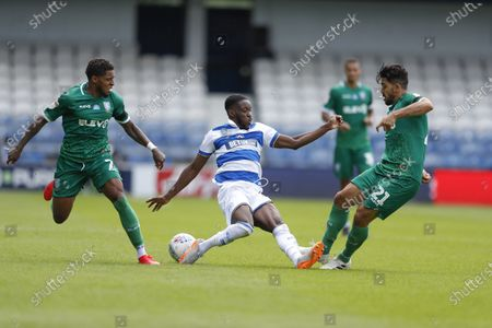 The Kiyan Prince Foundation Stadium, London, England; Olamide Shodipo of Queens Park Rangers being challenged by Massimo Luongo and Kadeem Harris of Sheffield Wednesday; English Championship Football, Queen Park Rangers versus Sheffield Wednesday.
