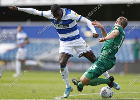 The Kiyan Prince Foundation Stadium, London, England; Julian Borner of Sheffield Wednesday challenges Bright Osayi; English Championship Football, Queen Park Rangers versus Sheffield Wednesday.