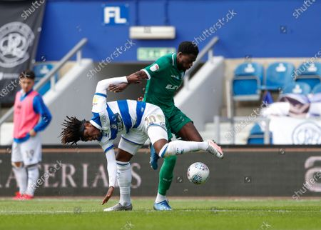 The Kiyan Prince Foundation Stadium, London, England; Dominic Iorfa of Sheffield Wednesday grapples with Eberechi Eze of Queens Park Rangers for the ball; English Championship Football, Queen Park Rangers versus Sheffield Wednesday.