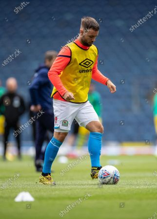 Ewood Park, Blackburn, Lancashire, England; Adam Armstrong of Blackburn Rovers warms up before the game; English Football League Championship Football, Blackburn Rovers versus West Bromwich Albion.
