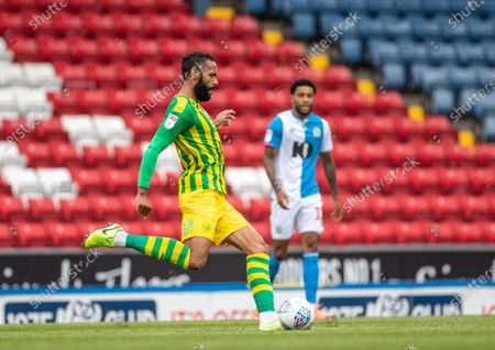 Ewood Park, Blackburn, Lancashire, England; Kyle Bartley of West Bromwich Albion plays the ball forward; English Football League Championship Football, Blackburn Rovers versus West Bromwich Albion.