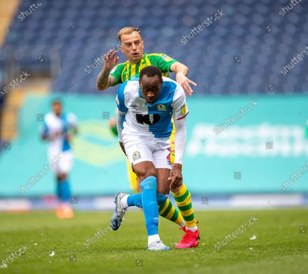Ewood Park, Blackburn, Lancashire, England; Ryan Nyambe of Blackburn Rovers is fouled by Kamil Grosicki of West Bromwich Albion; English Football League Championship Football, Blackburn Rovers versus West Bromwich Albion.