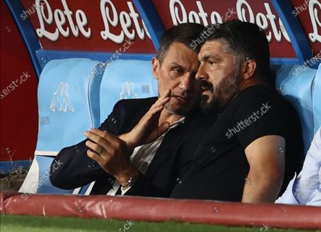 Stock Photo of Stadio San Paolo, Naples, Campania, Italy; Paolo Maldini DG AC Milan chats with Gennaro Gattuso coach of Napoli in the dugout; Serie A Football, Napoli versus AC Milan.