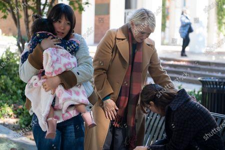 Lu Huang as Bebe Chow and Rosemarie DeWitt as Linda McCullough