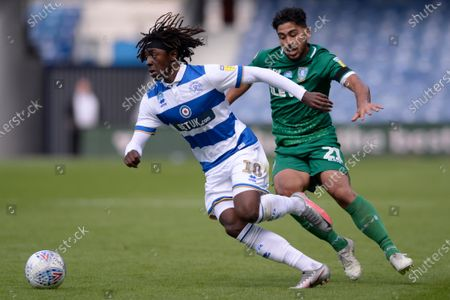 Eberechi Eze of Queens Park Rangers and Massimo Luongo of Sheffield Wednesday in action during Sky Bet League Championship match between Queens Park Rangers and Sheffield Wednesday at The Kiyan Prince Foundation Stadium in London, UK - 11th July 2020