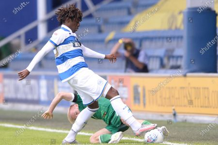 Eberechi Eze of Queens Park Rangers and Barry Bannan of Sheffield Wednesday in action during Sky Bet League Championship match between Queens Park Rangers and Sheffield Wednesday at The Kiyan Prince Foundation Stadium in London, UK - 11th July 2020