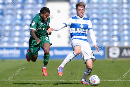 Jack Clarke of Queens Park Rangers and Kadeem Harris of Sheffield Wednesday in action during Sky Bet League Championship match between Queens Park Rangers and Sheffield Wednesday at The Kiyan Prince Foundation Stadium in London, UK - 11th July 2020