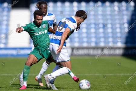 Luke Amos of Queens Park Rangers and Jacob Murphy of Sheffield Wednesday in action during Sky Bet League Championship match between Queens Park Rangers and Sheffield Wednesday at The Kiyan Prince Foundation Stadium in London, UK - 11th July 2020