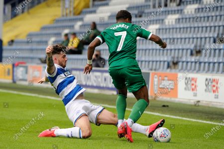 Ryan Manning of Queens Park Rangers and Kadeem Harris of Sheffield Wednesday in action during Sky Bet League Championship match between Queens Park Rangers and Sheffield Wednesday at The Kiyan Prince Foundation Stadium in London, UK - 11th July 2020