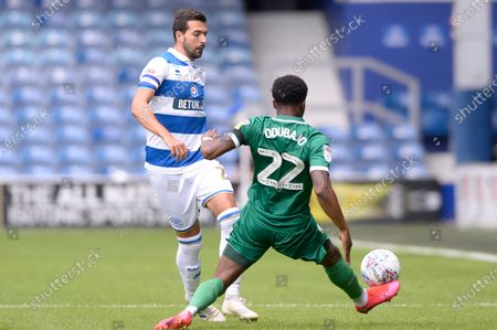 Yoann Barbet of Queens Park Rangers and Moses Odubajo of Sheffield Wednesday in action during Sky Bet League Championship match between Queens Park Rangers and Sheffield Wednesday at The Kiyan Prince Foundation Stadium in London, UK - 11th July 2020