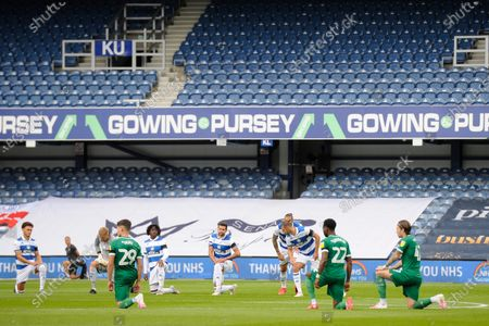 Players kneel prior to the Sky Bet League Championship match between Queens Park Rangers and Sheffield Wednesday at The Kiyan Prince Foundation Stadium in London, UK - 11th July 2020