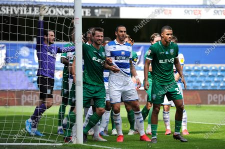 Players prepare for an incoming QPR corner during Sky Bet League Championship match between Queens Park Rangers and Sheffield Wednesday at The Kiyan Prince Foundation Stadium in London, UK - 11th July 2020
