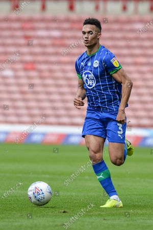 Antonee Robinson (3) of Wigan Athletic with the ball