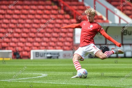 Ben Williams (3) of Barnsley FC warms up.