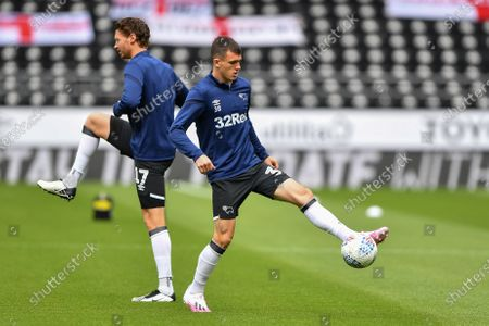 Jason Knight (38) of Derby County warms up
