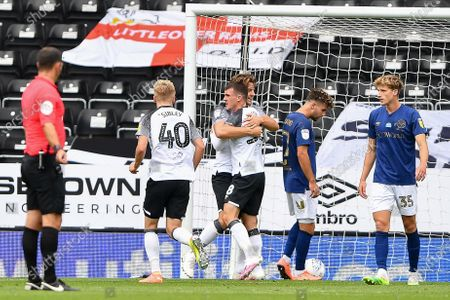 Jason Knight (38) of Derby County celebrates after scoring a goal to make it 1-1