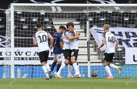 Derby County's Jason Knight celebrates scoring the equalising goal