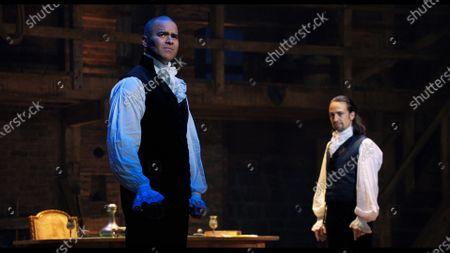 Chris Jackson as George Washington and Lin-Manuel Miranda as Alexander Hamilton