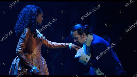 Renee Elise Goldsberry as Angelica Schuyler and Lin-Manuel Miranda as Alexander Hamilton