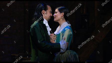 Stock Image of Lin-Manuel Miranda as Alexander Hamilton and Phillipa Soo as Eliza Hamilton