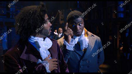 Stock Photo of Daveed Diggs as Marquis de Lafayette/Thomas Jefferson and Okieriete Onaodowan as Hercules Mulligan/James Madison