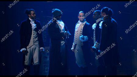 Daveed Diggs as Marquis de Lafayette/Thomas Jefferson, Okieriete Onaodowan as Hercules Mulligan/James Madison, Lin-Manuel Miranda as Alexander Hamilton and Anthony Ramos as John Laurens/Philip Hamilton