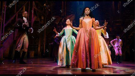 Leslie Odom Jr as Aaron Burr, Phillipa Soo as Eliza Hamilton, Renee Elise Goldsberry as Angelica Schuyler and Jasmine Cephas Jones as Peggy Schuyler