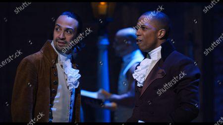Lin-Manuel Miranda as Alexander Hamilton and Leslie Odom Jr as Aaron Burr
