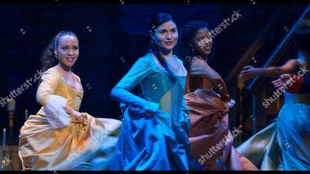 Jasmine Cephas Jones as Peggy Schuyler, Phillipa Soo as Eliza Hamilton and Renee Elise Goldsberry as Angelica Schuyler