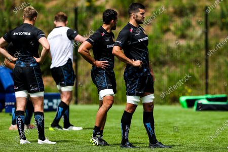 Tom Price looks on as Exeter Chiefs take part in stage two training with Premiership Rugby clubs take further steps towards a return to play in August after the Covid-19 enforced break