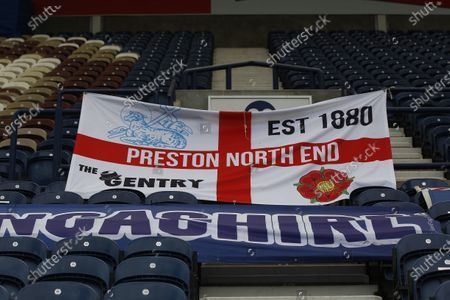 Deepdale Stadium, Preston, Lancashire, England; Banners decorate an empty Deepdale before today's game; English Championship Football, Preston North End versus Nottingham Forest.