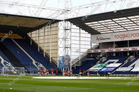 Deepdale Stadium, Preston, Lancashire, England; Nottingham Forest players warm up in front of an empty Deepdale before today's game behind closed doors; English Championship Football, Preston North End versus Nottingham Forest.