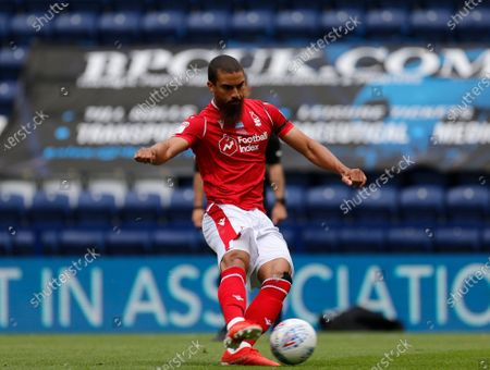 Deepdale Stadium, Preston, Lancashire, England; Lewis Grabban of Nottingham Forest scores his side's first goal from the penalty spot to make the score 1; English Championship Football, Preston North End versus Nottingham Forest.