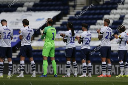 Deepdale Stadium, Preston, Lancashire, England; A minutes applause from Preston North End players and match officials to mark the passing of World Cup winner Jack Charlton; English Championship Football, Preston North End versus Nottingham Forest.