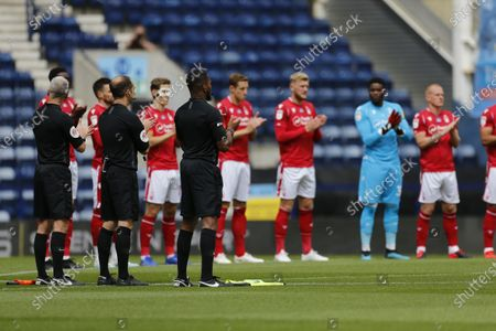 Deepdale Stadium, Preston, Lancashire, England; A minutes applause from Nottingham Forest players and match officials to mark the passing of World Cup winner Jack Charlton; English Championship Football, Preston North End versus Nottingham Forest.