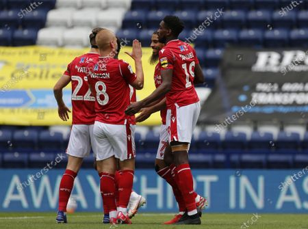 Deepdale Stadium, Preston, Lancashire, England; Lewis Grabban of Nottingham Forest celebrates with his team mates after he scores his side's first goal from the penalty spot to make the score 1; English Championship Football, Preston North End versus Nottingham Forest.