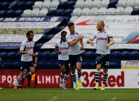 Deepdale Stadium, Preston, Lancashire, England; Jayden Stockley of Preston North End celebrates after he scores his side's first goal to make the score 1; English Championship Football, Preston North End versus Nottingham Forest.